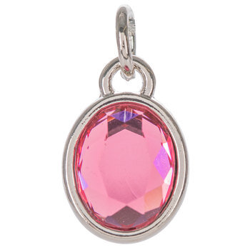 Rose Glass Oval Charm
