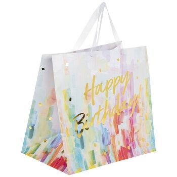 Happy Birthday Watercolor Streaks Gift Bag