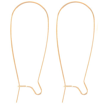 18K Gold Plated Kidney Ear Wires - 37mm