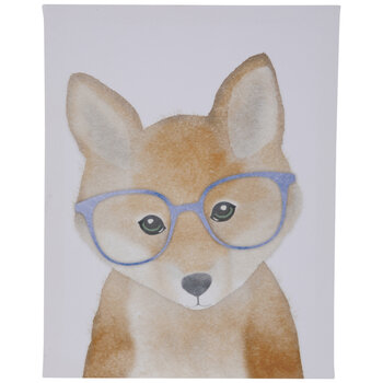 Fox With Glasses Canvas Wall Decor