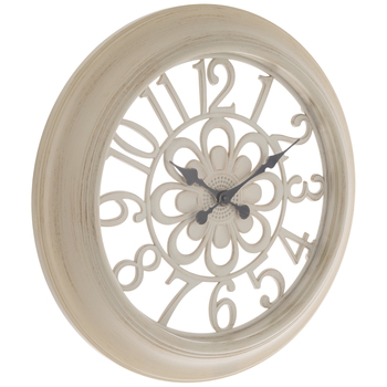 Antique White Flower Wall Clock