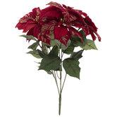 Red & Gold Glitter Poinsettia Bush