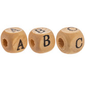Natural Wood Square Alphabet Beads