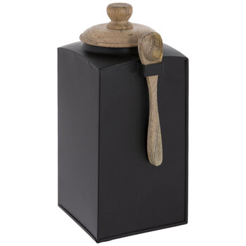 Black Metal Canister With Spoon