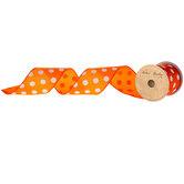 "Orange & White Polka Dot Satin Wired Edge Ribbon - 2 1/2"""