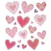Red Glitter Scroll Heart Stickers