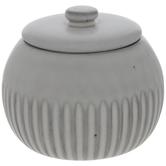 White & Brown Ridged Round Jar