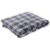 Blue & White Plaid Velvet Throw Blanket
