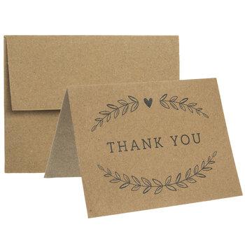Kraft & Black Thank You Cards