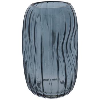 Blue Irregular Ridged Glass Vase