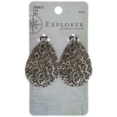 Leopard Print Teardrop Metal Pendants