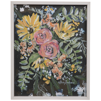 Yellow Daisies & Pink Roses Wood Wall Decor