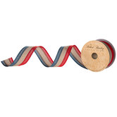 Striped Woven Wired Edge Ribbon - 1 1/2""