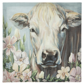 Cow In Flowerbed Canvas Wall Decor