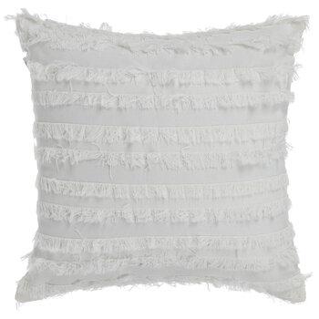 White Fringe Stripe Pillow