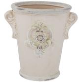 Cream Floral Medallion Flower Pot