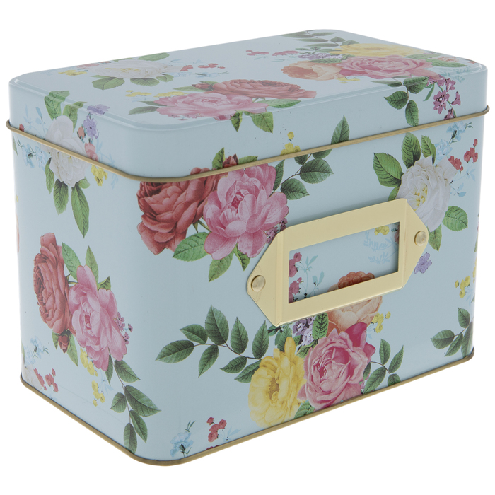 Gold with Flowers Recipe Tin