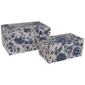 Beige & Blue Floral Wood Trunk Box Set