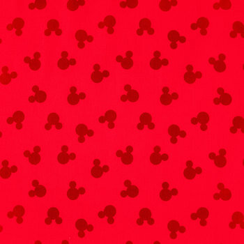 Red Mickey Shadow Cotton Calico Fabric
