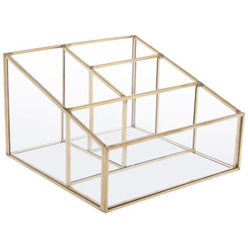 Metallic Gold Glass Jewelry Box