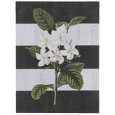 White Flowers Striped Wood Decor