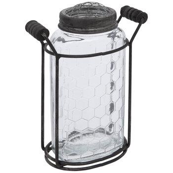Hexagon Vase With Metal Stand