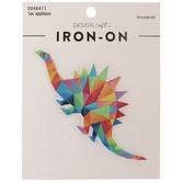 Multi-Color Geometric Stegosaurus Iron-On Applique