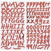 Red Foil Brush Alphabet Stickers