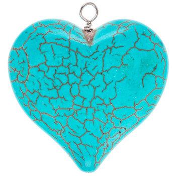 Dyed Imitation Howlite Heart Pendant - 43mm
