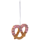 Pretzel Ornament With Pink Candy Dip