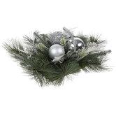 Silver Ornament & Pine Centerpiece