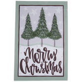 Merry Christmas Pine Trees Garden Flag