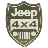 Green & Cream Jeep Shield Metal Sign
