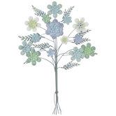 Green & Blue Flower Bouquet Metal Wall Decor