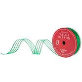 Glitter Striped Wired Edge Sheer Ribbon