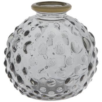 Gray Hobnail Glass Mini Vase