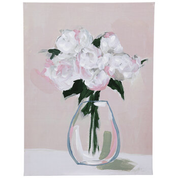 Pink Floral Vase Canvas Wall Decor