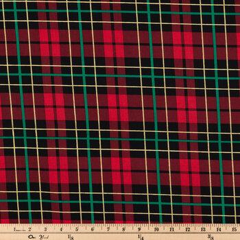 Red, Black & Green Plaid Cotton Fabric