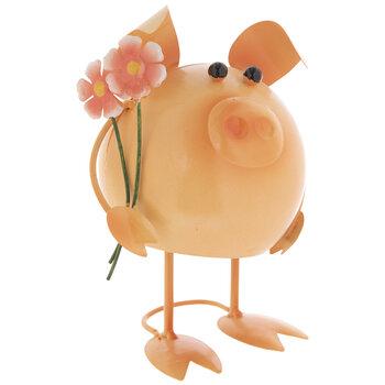 Metal Bobble Pig & Flowers