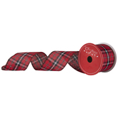 Red Plaid Wired Edge Sheer Ribbon - 2 1/2""