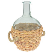 Glass Vase With Rattan Base