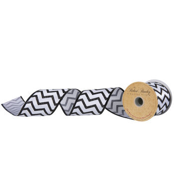 "Glitter Chevron Wired Edge Ribbon - 2 1/2"""