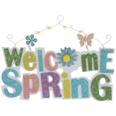 Welcome Spring Glitter Wood Wall Decor