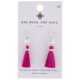 White & Fuchsia Beaded Raffia Tassel Earrings