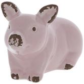 Light Pink Pig Crouching Down
