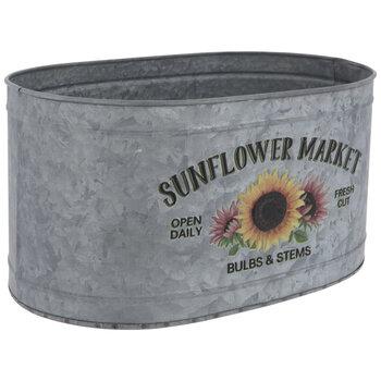 Sunflower Market Galvanized Metal Container