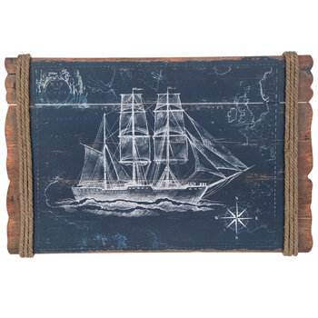 Vintage Ship With Jute Wood Wall Decor
