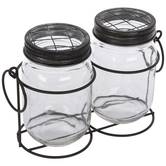 Rustic Metal Caddy With Mason Jars