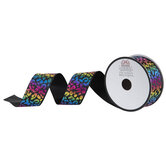 "Rainbow Leopard Print Wired Edge Ribbon - 1 1/2"""