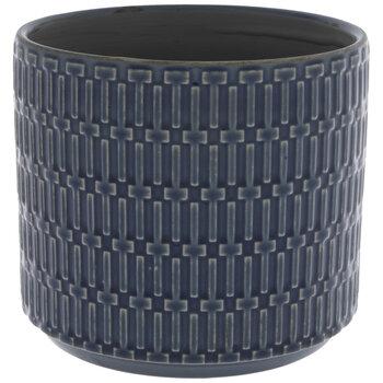 Blue Geometric Flower Pot
